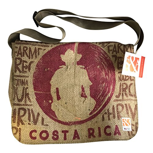 Sack Cloth and Ashes Eco-Friendly, Upcycled Coffee Bean Burlap Crossbody/Messenger Bag With Adjustable Webbed Handles, Coffee Man