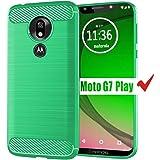 Moto G7 Play Case, HNHYGETE Soft Slim Shockproof Anti-Fingerprint Full Protective Phone Cases for Motorola Moto G7 Play (Green)