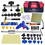 Super PDR 52pcs Car Auto Body Paintless Dent Puller Repair Remover Tool Kit Set for Hail Damage and Door Ding Removal Bridge Dent Puller Lifter Kits Hot Melt Glue Gun with Slide Hammer