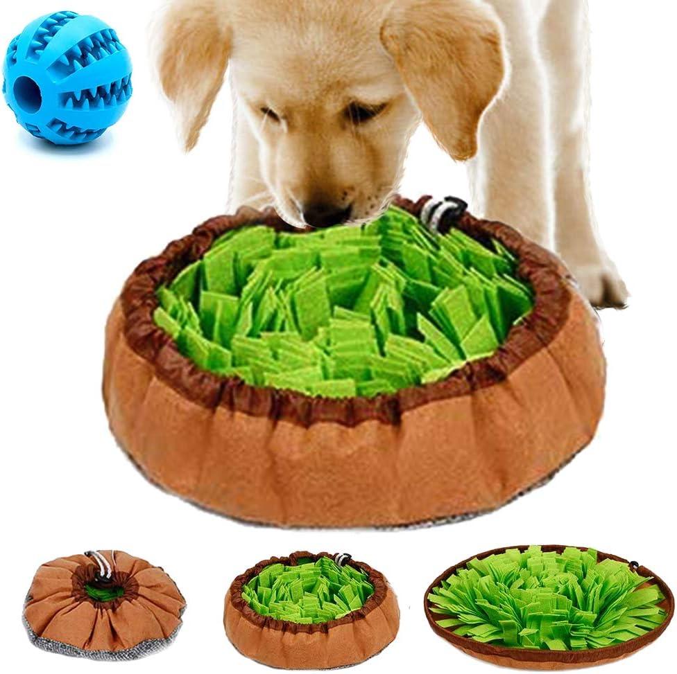 Meilo Perro olfatea la Alfombra.Juguetes interactivos para Perros, Dog Puzzle Toys, Almohadilla para olfatear Mascotas(Una Pelota Extra)