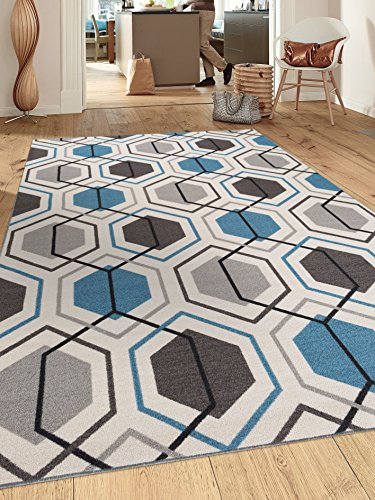 Contemporary Geometric Stripe Non-Slip (Non-Skid) Area Rug 8 x 10 (7' 10