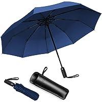 Bigmeda Paraguas Plegable Automático Impermeable Paraguas con 9 Armazones de Metal Paraguas Fácil de Transportar y Asa…