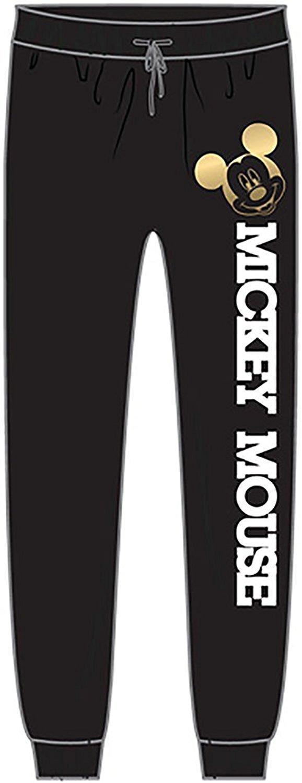 Disney Mickey Mouse Girls Varsity Terry Cloth Sweat Pajama Pants - Black White S