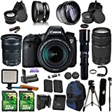 Canon EOS 6D + 24-105mm IS STM + 75-300mm + Preset 500mm Telephoto PagingZone Kit Includes, .43x Fisheye + 2.2x Telephoto + LED Light + 2 SD 32GB Card + Extra Battery & Charger + Tripod + Battery Grip