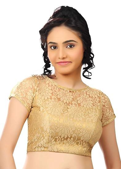 c01f7a2c2b414 Saris and Things Fancy Gold Net Fabric Party-wear Saree Blouse Sari Choli -
