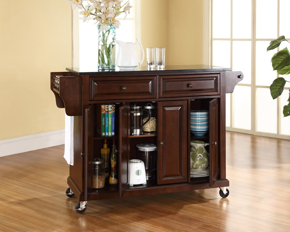 Amazon.com: Crosley Furniture Rolling Kitchen Island with Solid ...