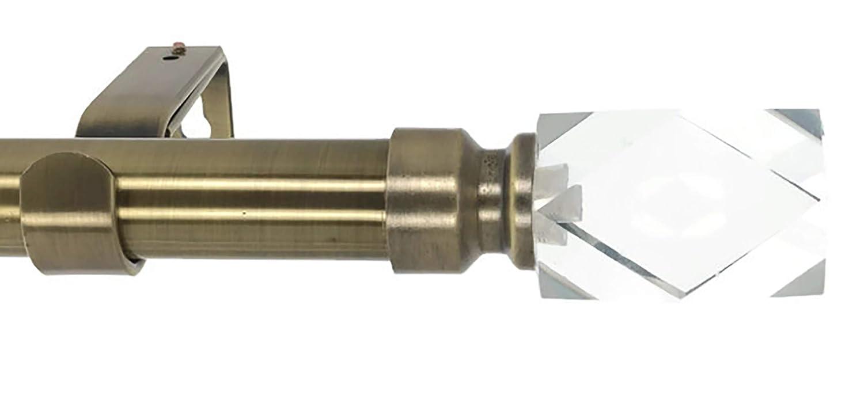 期間限定特別価格 Meriville 直径1インチ ダブルウィンドウトリートメントカーテンロッド クリスタルフィニアルカット [並行輸入品] 48