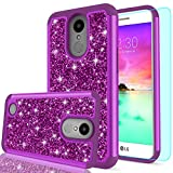 LG K20 V Case,LG K20 Plus Case,LG K10 2017 / LG Harmony / LG Grace Case with HD Screen Protector,LeYi Luxury Glitter Bling Cute Girls Women Hybrid Heavy Duty Protection Case for LG K20 V FZ Purple