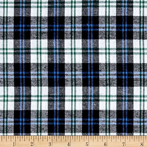 Richland Textiles Yarn Dyed Flannel Plaid Blue Navy White Fabric By The Yard (Flannel Oz 5 Shirt)