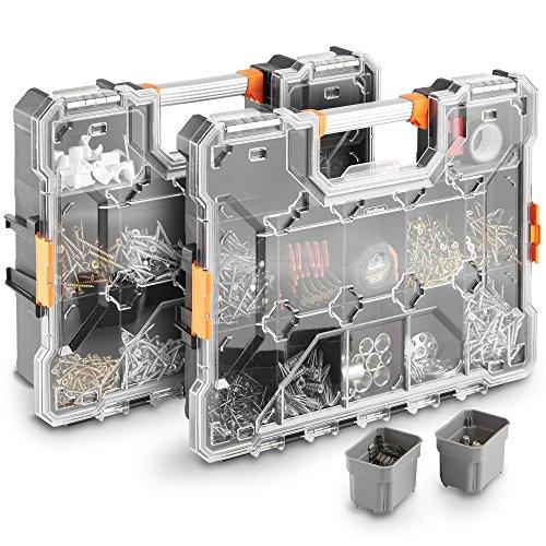 VonHaus Set of 2X Interlockable Heavy Duty Tool Storage Box 18