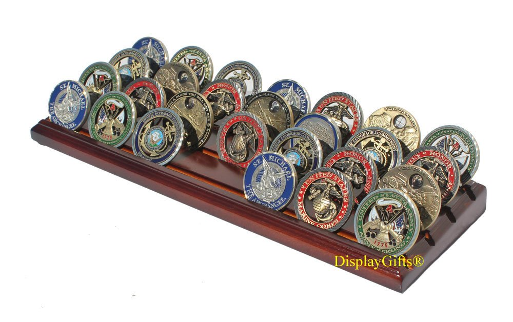 4 Rows Military Challenge Display Coin Holder Stand (Walnut Finish) by DisplayGifts