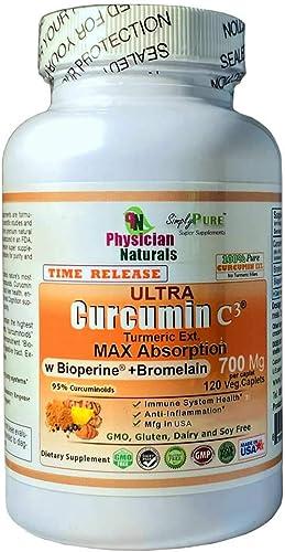 Ultra Curcumin Time Release w Bioperine 700mg 120 Tabs MAX Absorption
