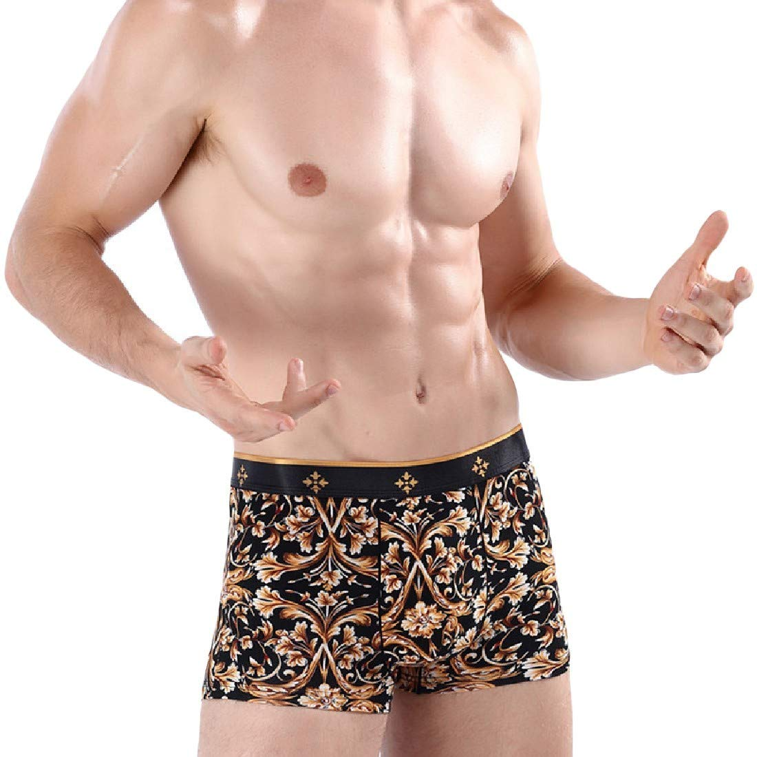 Mfasica Men Vogue Breathable Cotton Printing Underwear Boxer