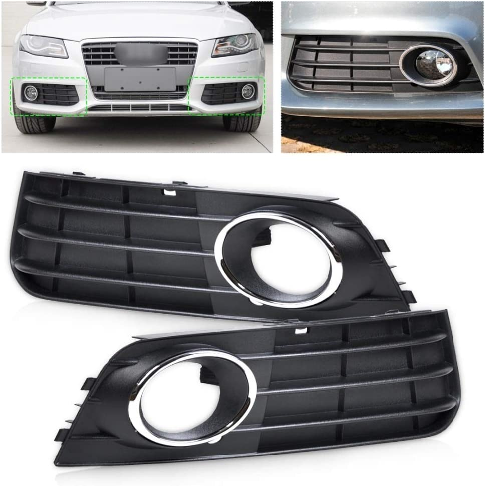 Right Bumper Fog Lamp Cover Grille Fit For Audi A4 B8 2008 2009 2010 2011 2012 Fog Light Grilles Front Bumper Fog Lamp Frame 8K0807681A 01C 8K0807682A 01C Front Left