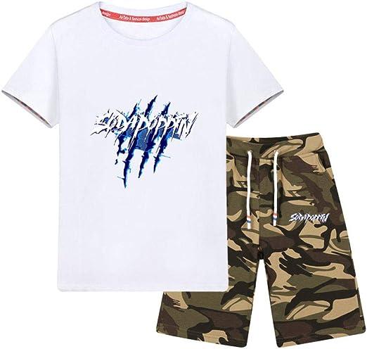 LF Pack De 1 Niño Camisetas,Camiseta De Manga Corta Carta Impresa,Traje De Camuflaje Camisa De Niños,N-55in(140cm): Amazon.es: Hogar