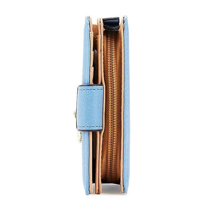 Womens Wallets Leather Slim Bifold Cute Zipper Clutch Wallet for Women Portable Ladies Purse
