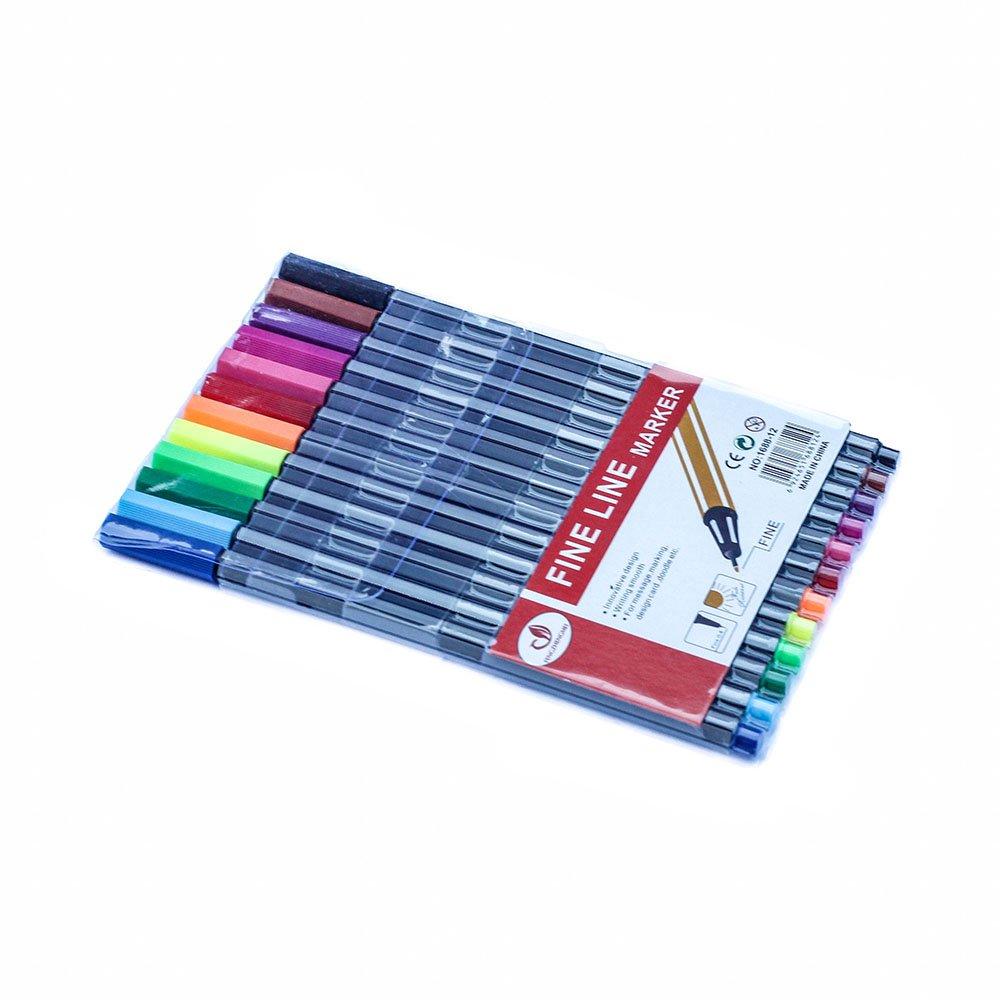 12 Fineliner Colouring Pens Set Fine Point Pens 0.4mm Assorted Colours, Fineliners Coloured Pens