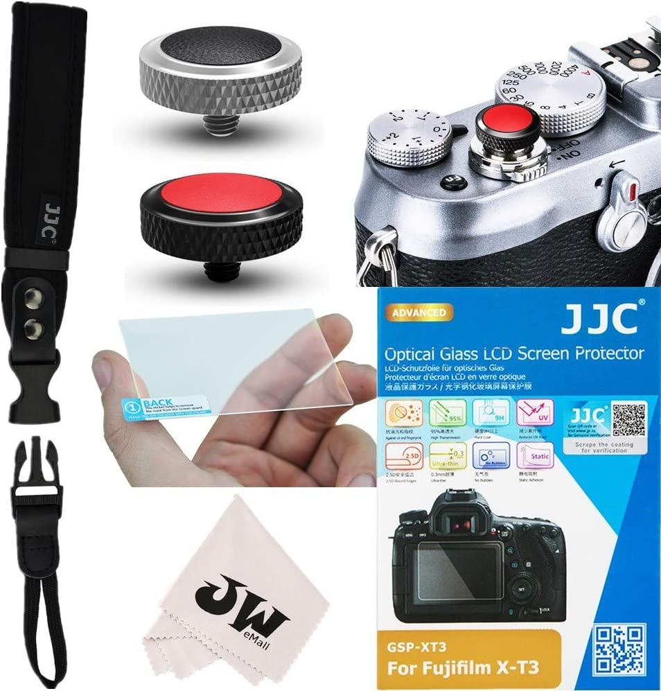 Black+Silver 2x Deluxe Shutter Release Button Cap 5in1 Dedicated Accessories Kit for Camera Fuji Fujifilm X-T3 XT3 : Glass Screen Protector +Quick Release Hand Waist Strap+Microfiber Cleaning Cloth