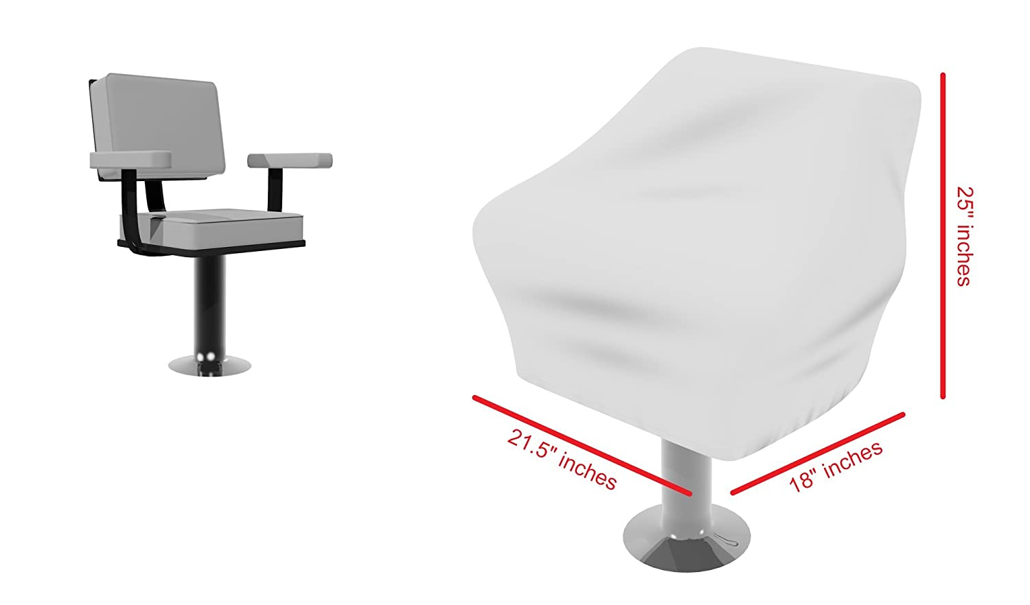 Weather Resistant Marine Canvas Set of 2 Color White Boat Seat Covers Fits Over the Chair and Armrest Superior Fabric to Protect Captain/'s Chair from The Elements Sun-Protect Marine Canvas