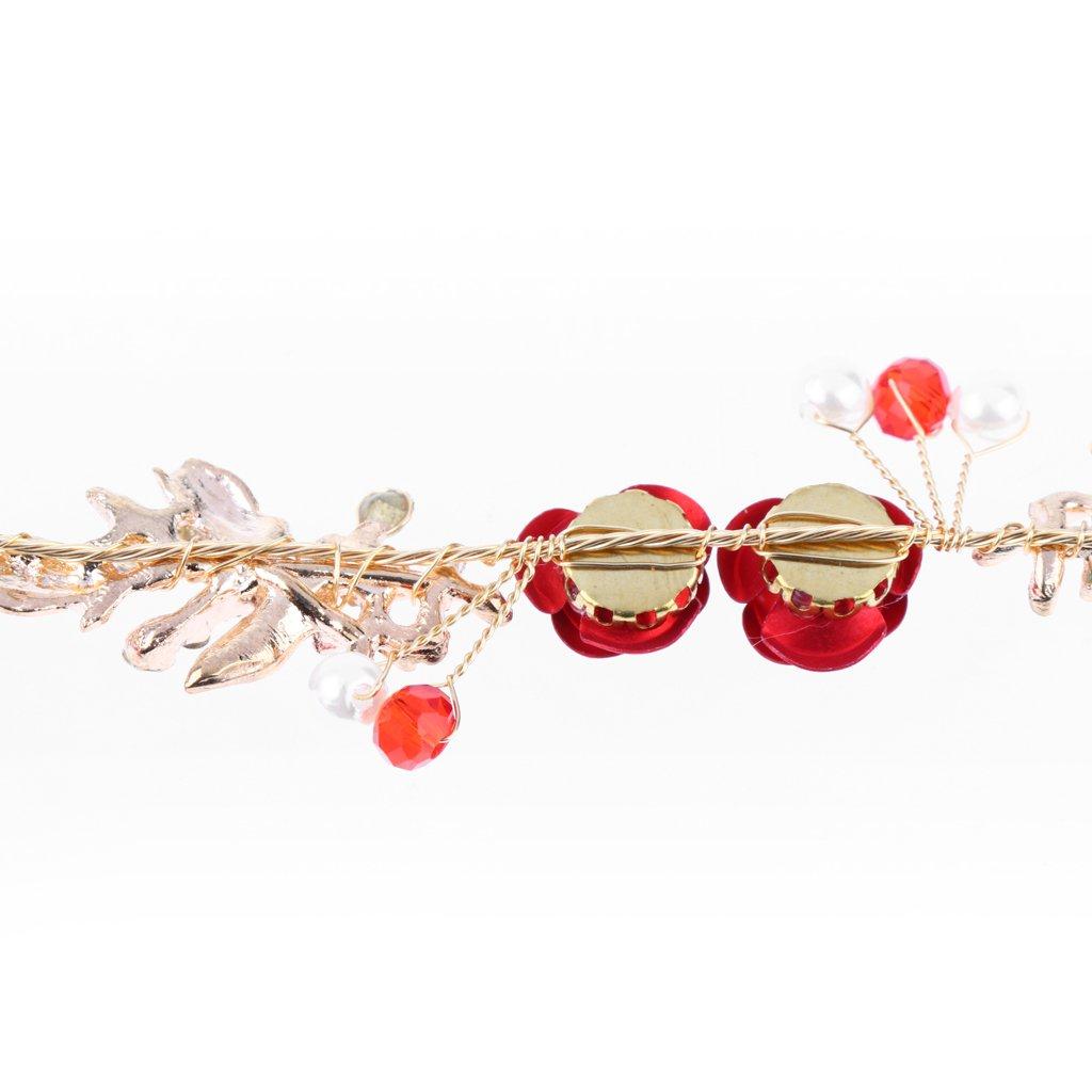 D DOLITY Bandeau de Mariage Strass Feuille Roses Rouges Couronne Diad/ème Vintage Nuptiale Femmes Filles Or