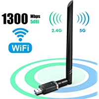 EDUP WiFi Adapter for Gaming 1300Mbps, USB3.0 Wireless Adapter Dual Band 5GHz 802.11 AC WiFi Dongle 5dBi Antenna Support Desktop Laptop Windows XP/Vista/7/8/10 Mac 10.6-10.15, USB Flash Drive Included