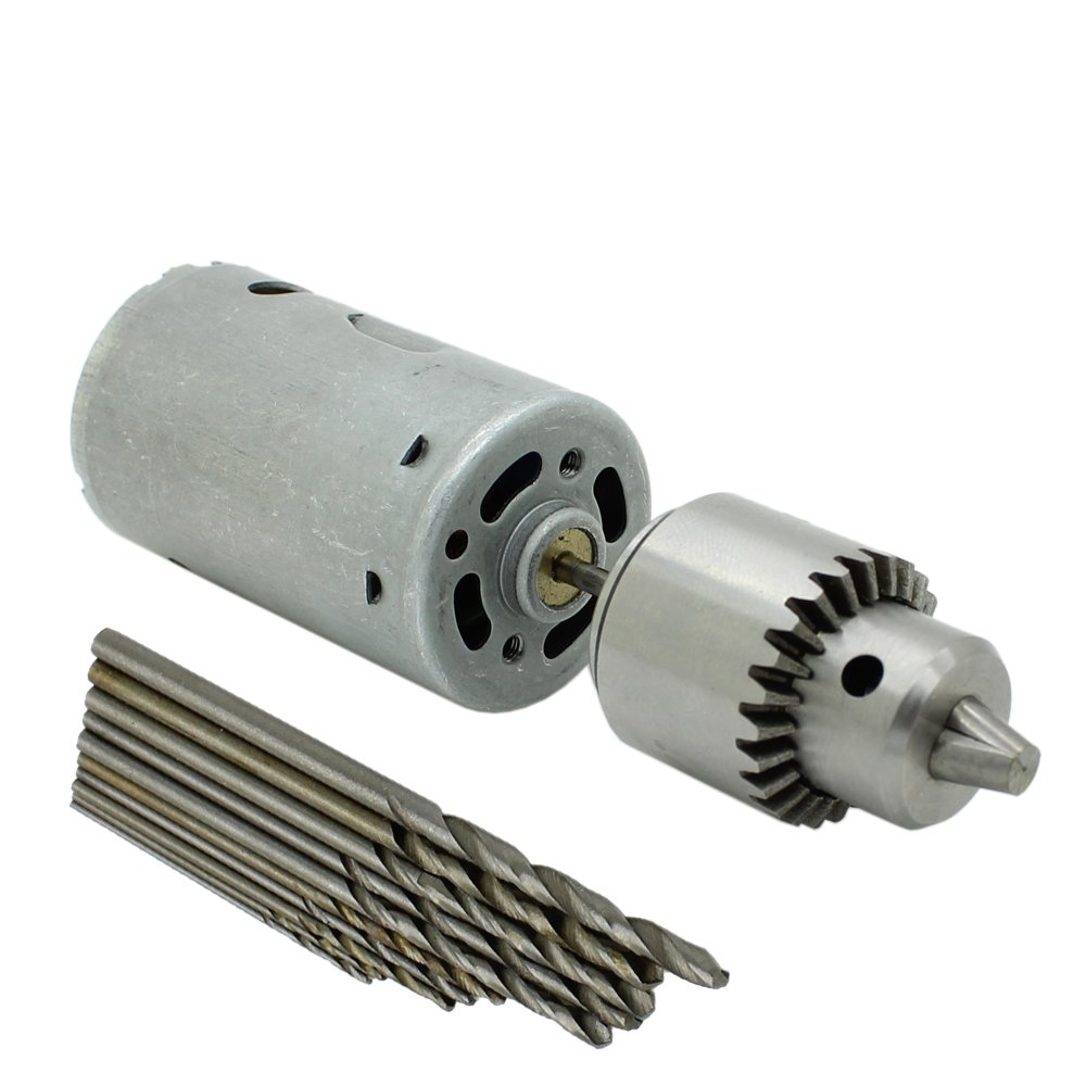 DC motor with drill chuck and drill bits