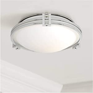 Deco Modern Ceiling Light Flush Mount Fixture Chrome 12 3/4