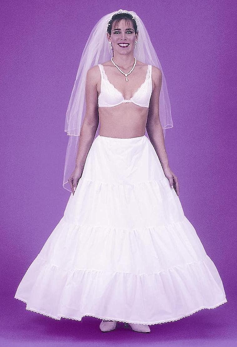 White 113DS Drawstrings New Very Full Triple Ruffle Bridal Petticoat Wedding Gown Slip Black