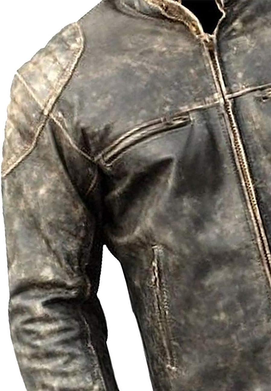 Mens Antique Retro Vintage Distressed Black Biker Real Sheepskin Leather Jacket