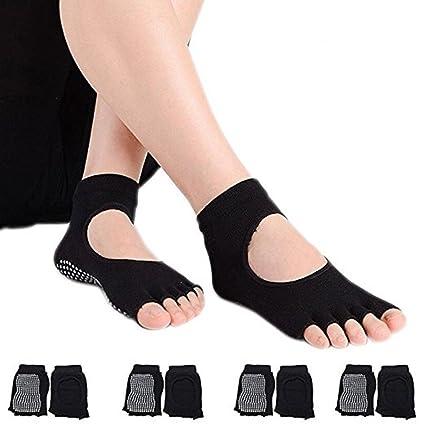 Hubanbei – 4 pares de calcetines antideslizantes de algodón sin dedos para mujer, transpiración ideal, para yoga, pilates, danza y fitness