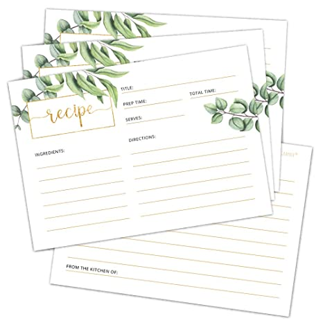 Rustic Recipe Cards 4x6 Double Sided Greenery Design for Bridal Shower Wedding Shower Housewarming Gift! Pack of 50