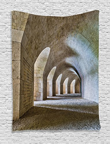 Ambesonne Medieval Decor Collection, Castle Tunnel Interior with Arches in a Bastion Fortress Historical Design, Bedroom Living Room Dorm Wall Hanging Tapestry, Ivory Beige - Castle Collection Wall
