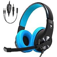 Stoon casque de jeu pour PS4, Xbox One (adaptateur Nécessaire)/S/X, PC, stéréo Réducteur de bruit Over Ear Casque avec micro, lumière LED, doux mémoire Cache-oreilles pour Nintendo commutateur (audio) pour ordinateur portable Mac bleu