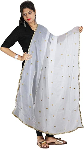 Dupatta Chiffon Scarf Stole Wrap Indian White Chunni Women Long Hijab Work Hand