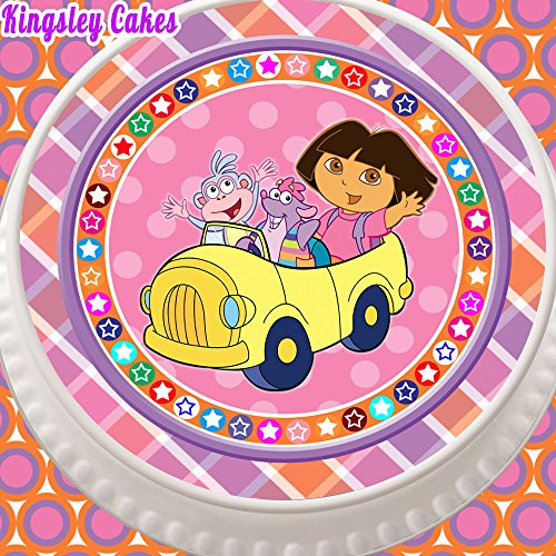 PRECUT EDIBLE ICING CAKE TOPPER - 7.5 INCH ROUND DORA THE EXPLORER IN CUTE YELLOW (Cute Dora)