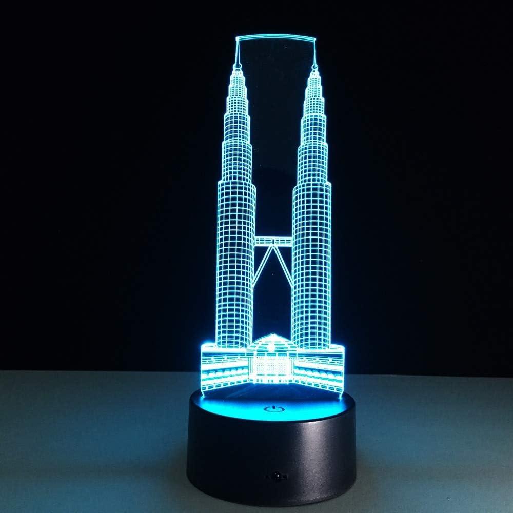 Torres gemelas Luces de construcción Sensores táctiles Luces nocturnas Luces de Colores Camas Infantiles Iluminación Emocional