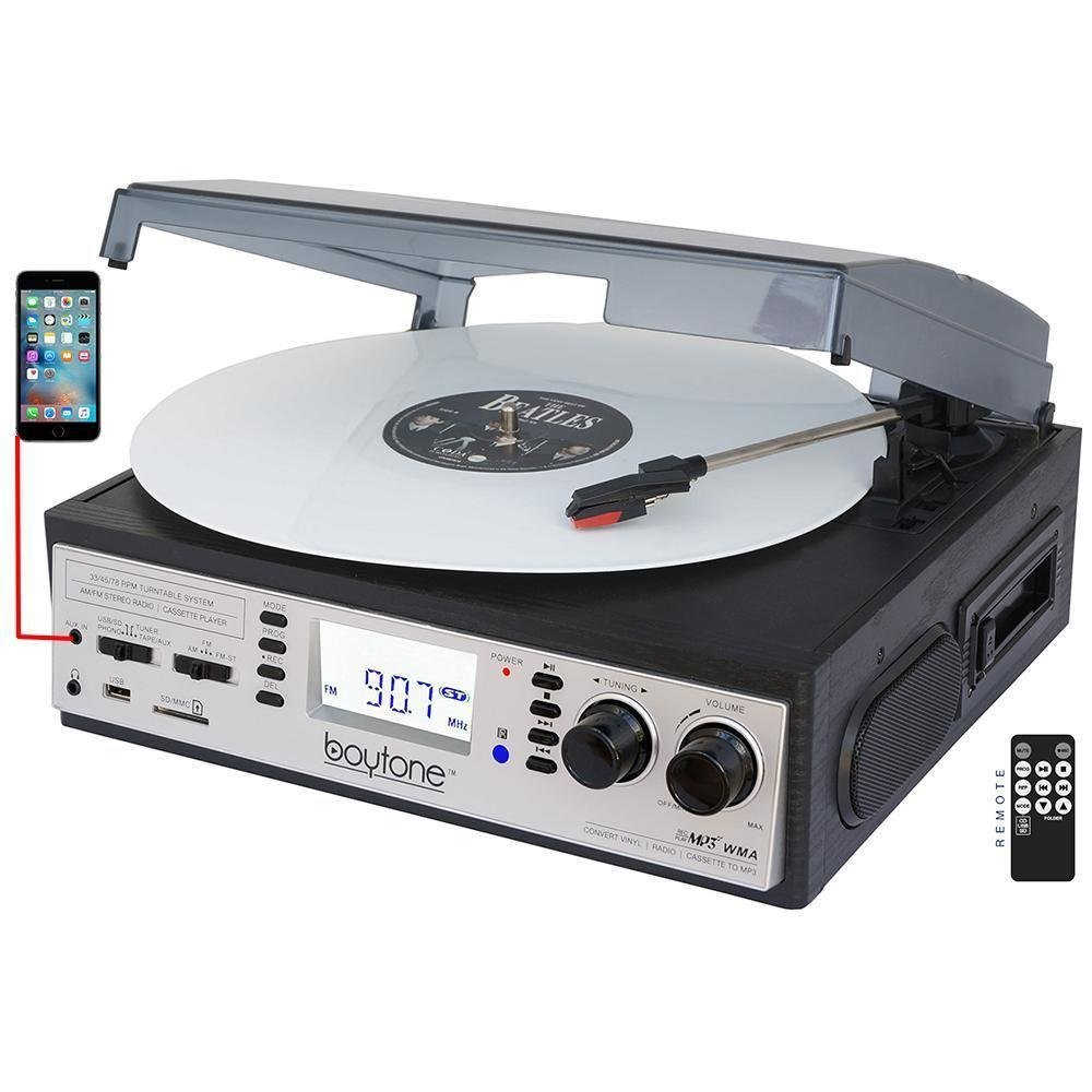 Boytone BT-19DJS-C 3-speed Turntable, 2 Built in Speakers Large Digital Display AM/FM, Cassette, USB/SD/AUX/MP3, Recorder & WMA Playback /Recorder & Headphone Jack + Remote Con (Certified Refurbished)