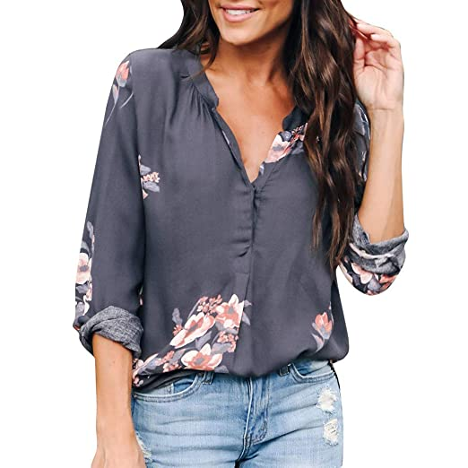 828d8d55848 Staron Womens Pullover T-Shirt Long Sleeve Floral Printed Shirt Tops Casual  Blouse Grey
