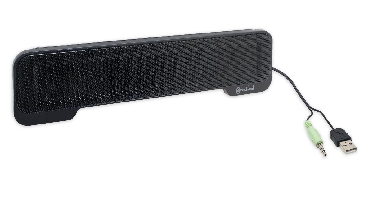 Connectland USB Powered Portable Stereo Sound Speaker Bar Mounts to Laptop Screen - CL-SPK20138