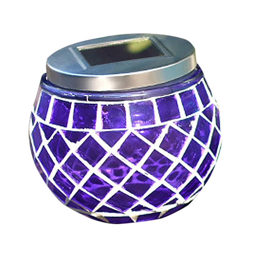 LiPing Solar Mosaic Landscape LED Outdoor Lamp Warm White Decorative Lights Garden Light Gutter Fence (Purple)