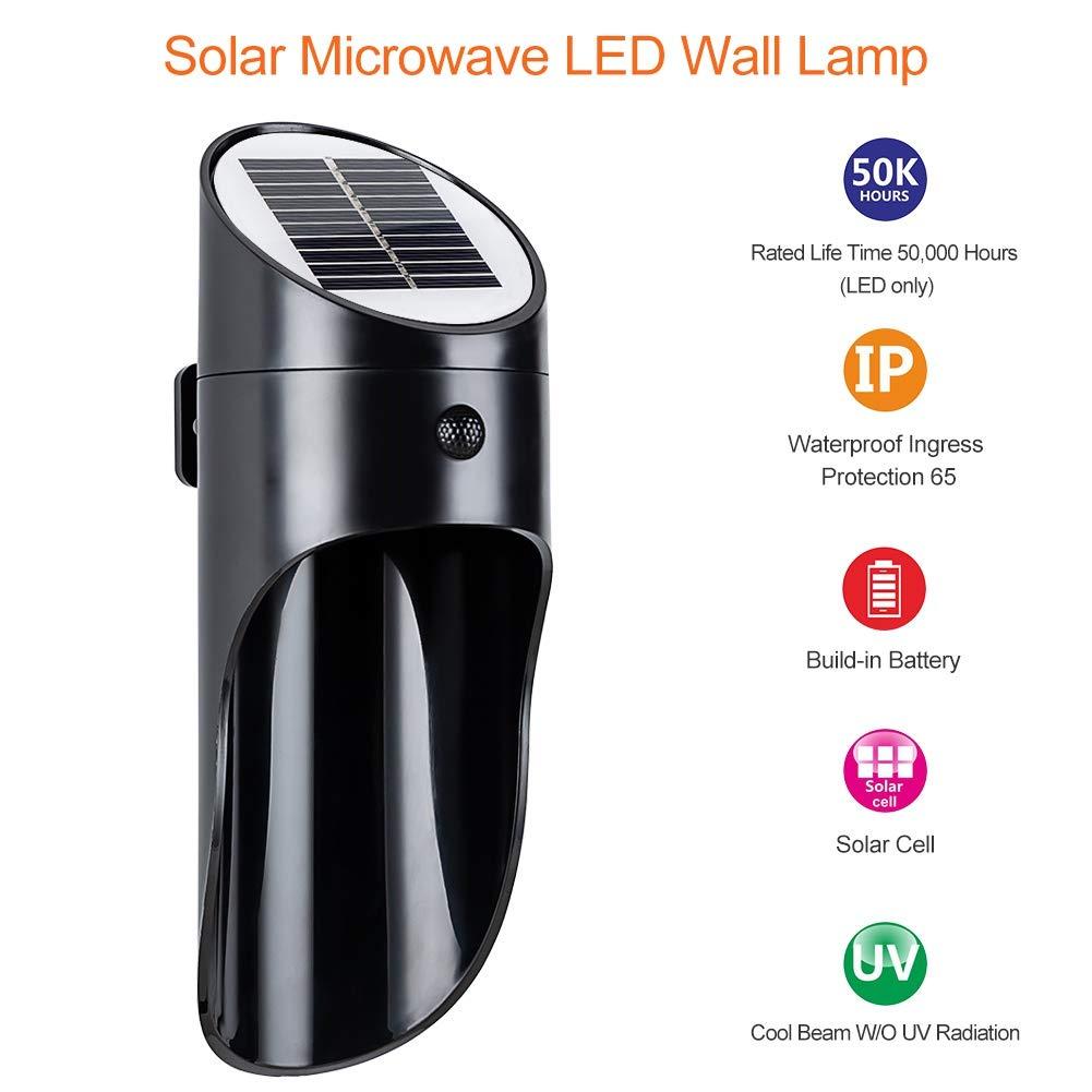 Aesy Luz de Sensor de Movimiento Solar, Lámpara de Pared de ...