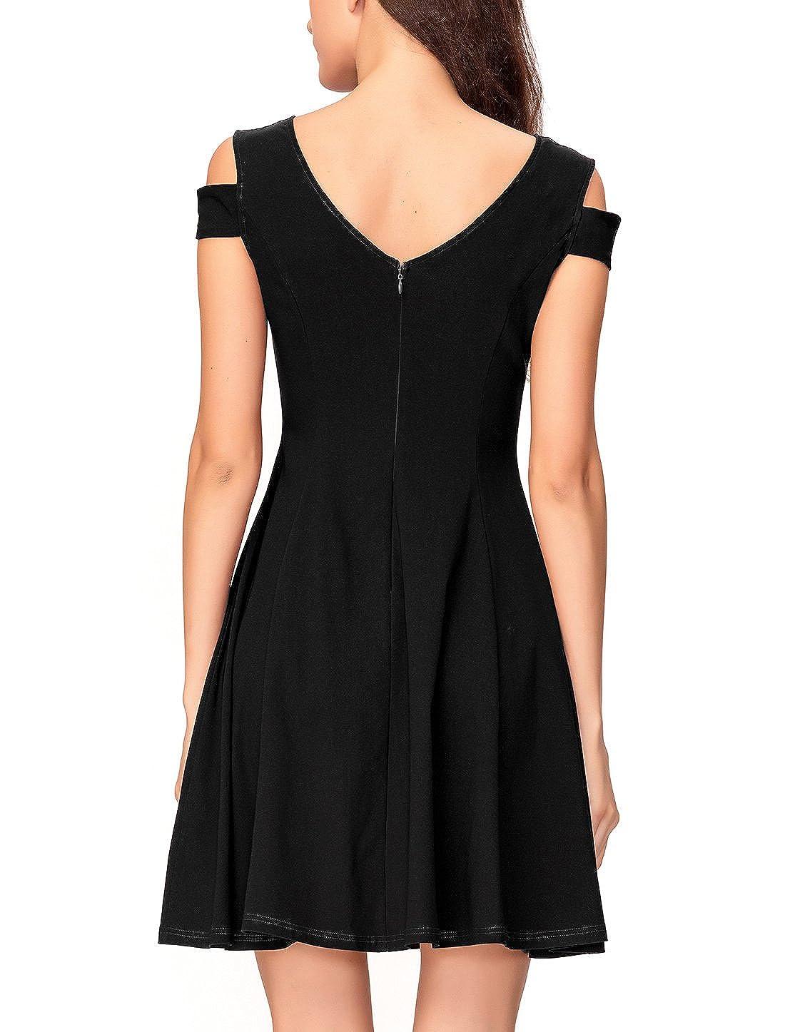 2325848bc4e6 Amazon.com: InsNova Summer Vintage Cold Shoulder Flare Little Black Dress  for Women Party: Clothing