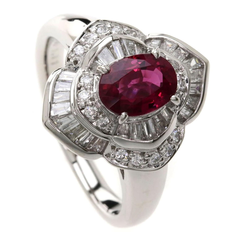 [セレクトジュエリー]ルビー/ダイヤモンド リング指輪 Pt900 レディース (中古) B07CKGCSL1