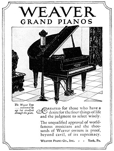 Posterazzi GLP469052LARGE Poster Print Collection Ad: Weaver Grand Pianos./American Advertisement For Weaver Grand Pianos 1926. Poster Print By, (18 X 24), Multicolored