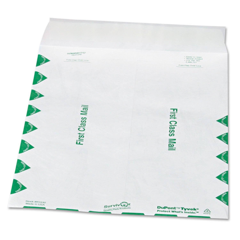 Survivor R1530 Tyvek Open-End Envelope,1st Class,9-1//2x12-1//2,100//BX,WE
