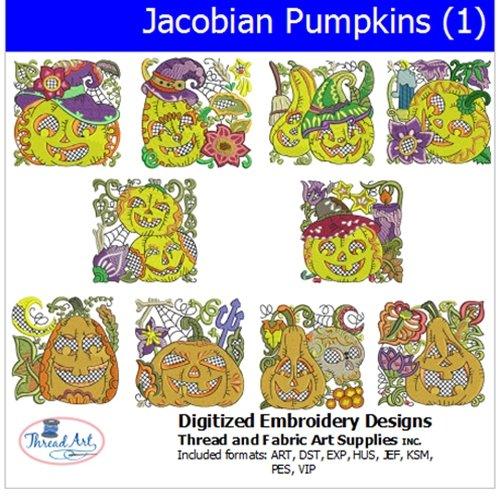 Threadart Machine Embroidery Designs - Jacobean Pumpkins (1) - USB Stick