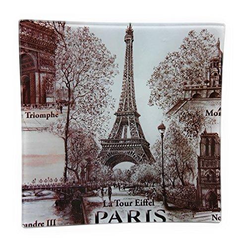 Value Arts Eiffel Tower Paris France Glass Decor Dish, 5.75 Inches Square