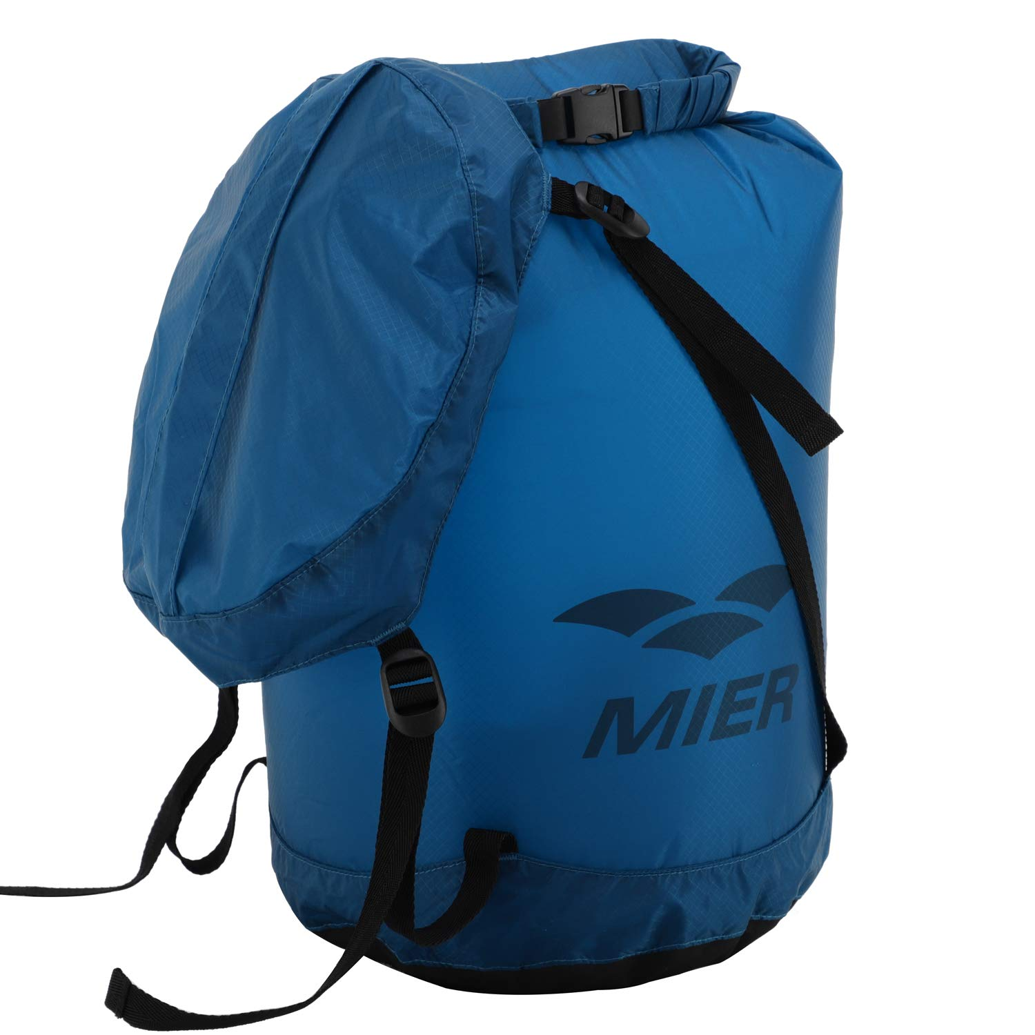 MIER Waterproof Compression Stuff Sack Ultralight Cordura Nylon Dry Bag for Backpacking, Kayaking, Camping, Outdoor Sports, 10L, Blue by MIER