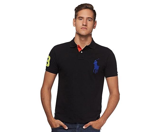 1ca7777b69be Polo Ralph Lauren Mens Custom Fit Big Pony Mesh Polo Shirt (Small, Polo  Black