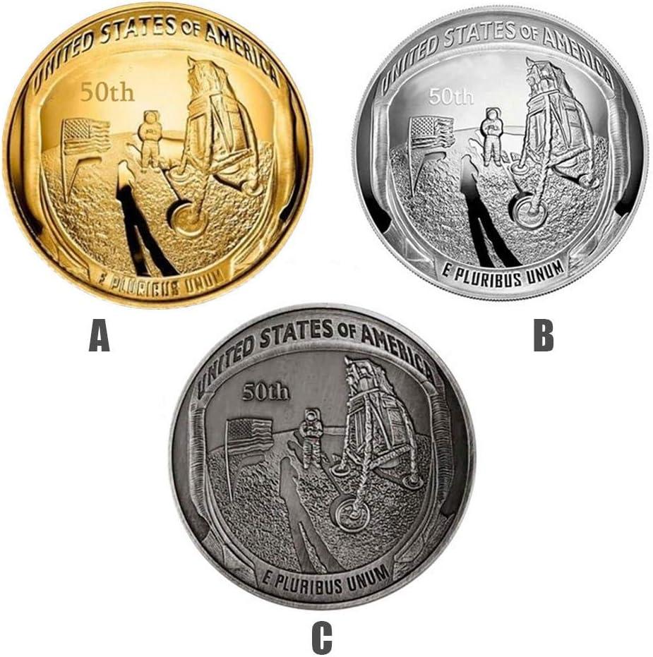 Womdee Apollo - Juego de 2 Monedas conmemorativas del 50 Aniversario de la NASA Humans First Landing, colección de Joyas de Monedas, Regalo de Recuerdo, Monedas novedosas (Oro): Amazon.es: Hogar